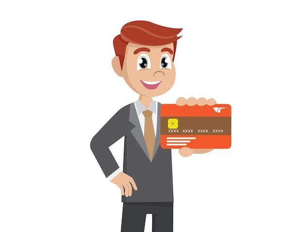 Empresário segurando um cartão de crédito.