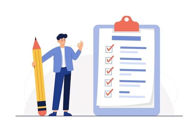 Empresário segurando um lápis na grande lista de verificação completa com marcas de seleção