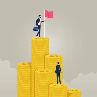 Empresário segurando uma bandeira no topo da escada de dinheiro para atingir o objetivo financeiro independente