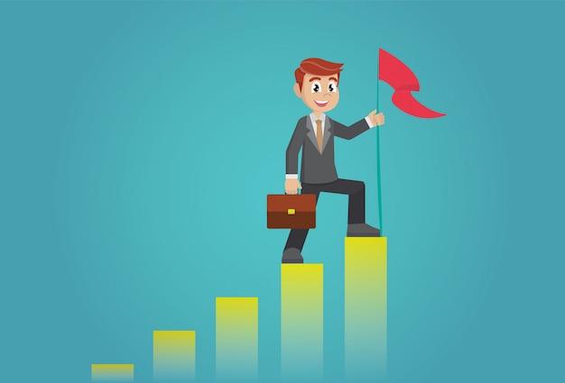 Empresário segurando uma bandeira no topo do gráfico de coluna.