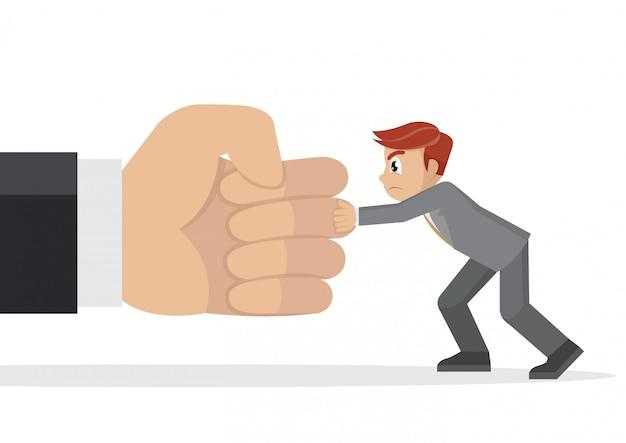 Empresário segurando uma mão gigante de perfuração.