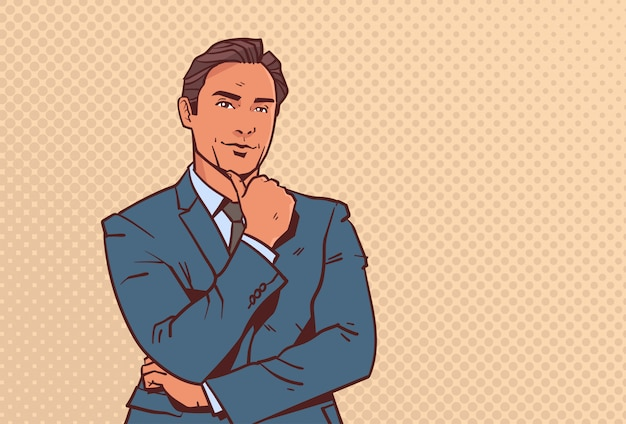Empresário segurar o dedo da mão no homem de negócios de queixo ponderando masculino dos desenhos animados