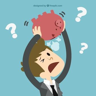 Empresário sem dinheiro conceito