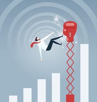 Empresário sendo atingido por uma grande luva de boxe e caindo do gráfico de taxa crescente