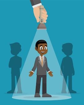 Empresário sendo destacado entre outros empresários.