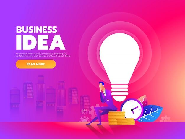 Empresário sentado com lâmpada de ideia e fundo de dinheiro