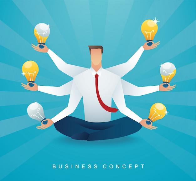 Empresário sentado com lâmpada. pensamento criativo