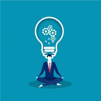 Empresário sentado em lótus pose de meditação com lâmpada