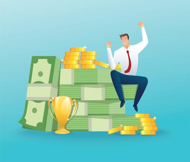 Empresário sentado em muito dinheiro e moedas