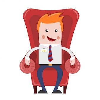Empresário sentado. empresário descansando na poltrona confortável vermelha. relaxe depois do trabalho. trabalhador de escritório alegre, loira, vip. o estilo plano