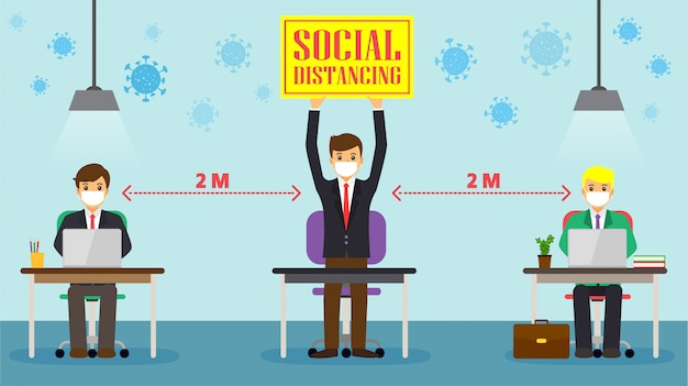 Empresário, social distanciamento na estação de trabalho de escritório. os funcionários estão trabalhando juntos na mesa, mantendo distância para o vírus covid 19