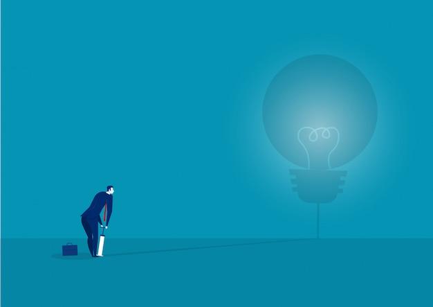 Empresário, soprando a lâmpada pela bomba de ar. concept.vector