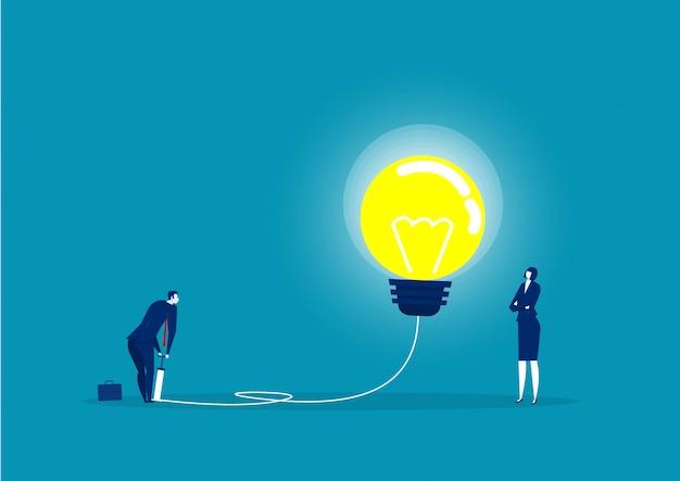 Empresário, soprando a lâmpada pela ilustração da bomba de ar