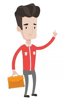 Empresário sorridente apontando com o dedo indicador.