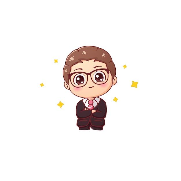 Empresário sorridente fofo usando óculos com os braços cruzados