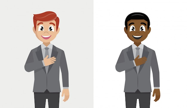 Empresário sorrindo com a mão no peito e um gesto de agradecimento.
