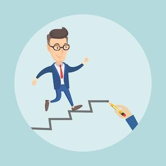 Empresário subindo a escada da carreira.