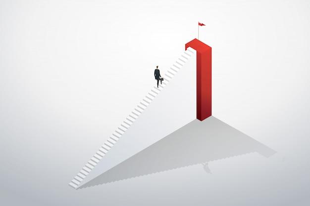 Empresário subindo as escadas correndo para o objetivo e sucesso.