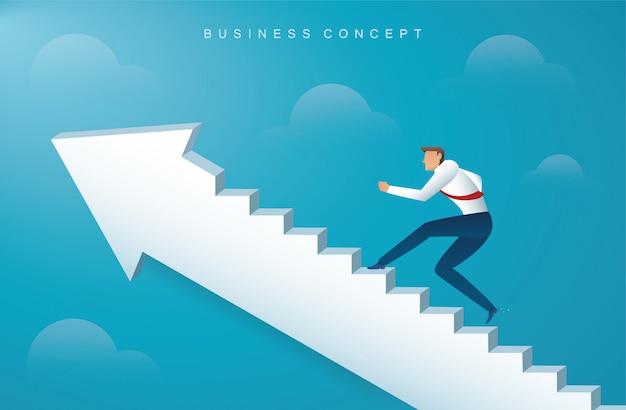 Empresário subindo as escadas de seta para o sucesso