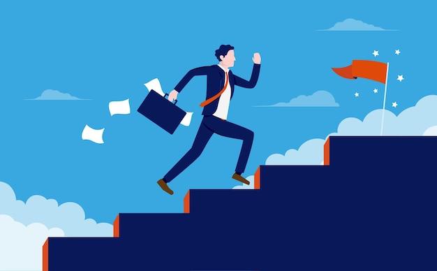 Empresário subindo escadas correndo para alcançar o sucesso