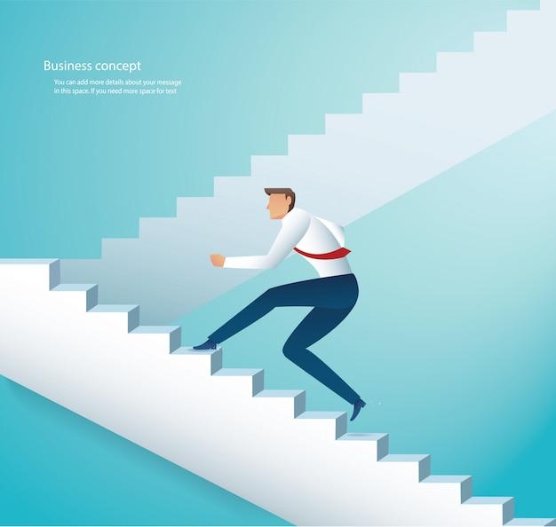 Empresário subindo escadas para o sucesso