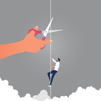Empresário subindo na corda e mão gigante com uma tesoura está cortando a corda