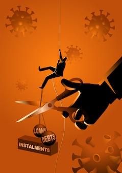 Empresário subindo na corda, enquanto isso, uma mão gigante com uma tesoura cortando seu fardo