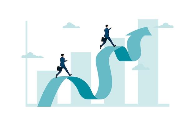 Empresário subindo no gráfico ou seta, realização de meta de negócios, progresso e avanço na carreira, competição profissional, sucesso nos negócios. ilustração vetorial plana