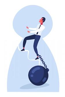 Empresário subir escadas com perna acorrentada
