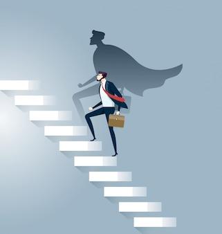 Empresário super-herói bem sucedido no conceito de escada de carreira