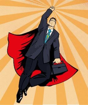 Empresário super herói voando com maleta