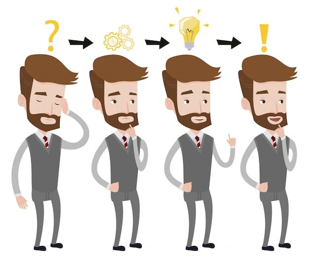 Empresário, tendo a ilustração da ideia.