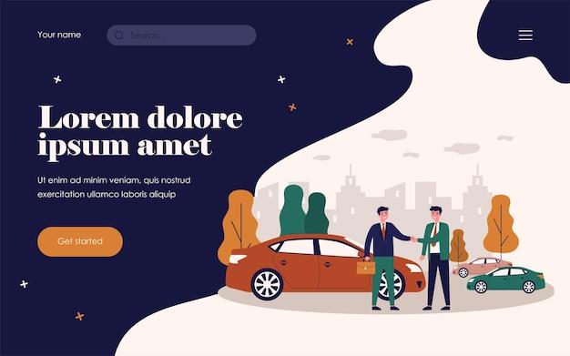 Empresário tendo veículo em compartilhamento de carro. automóvel, aperto de mão, ilustração vetorial plana de aluguel. transporte e conceito de estilo de vida urbano para banner, design de site ou página de destino