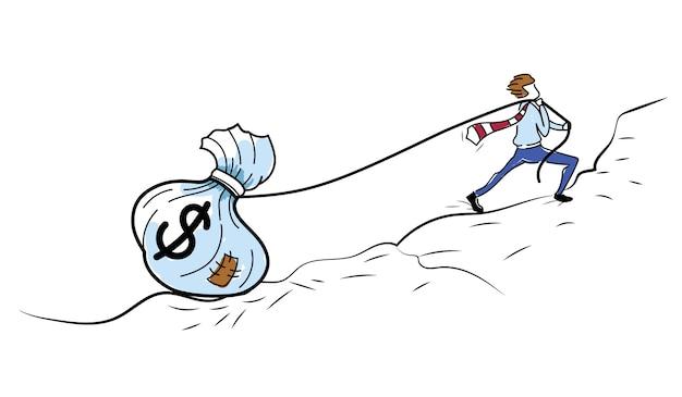 Empresário tenta puxar um saco de dinheiro pesado