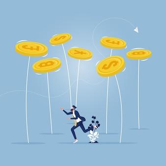 Empresário tentando equilibrar uma série de moedas giratórias - conceito de equilíbrio financeiro