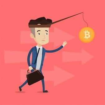 Empresário tentando pegar bitcoin na vara de pesca