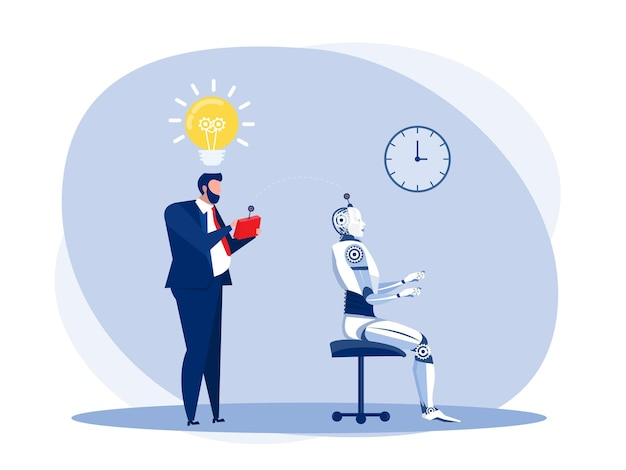 Empresário testa um robô tecnologia de inteligência artificial com controle remoto. ilustrador vetorial