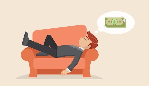 Empresário tirando uma soneca no sofá sonhando com dinheiro