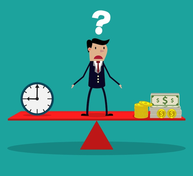 Empresário tomando decisões entre tempo ou dinheiro