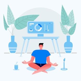 Empresário trabalha em casa e se senta com as pernas cruzadas e medita na casa. vestido com roupas de casa. ilustração plana.
