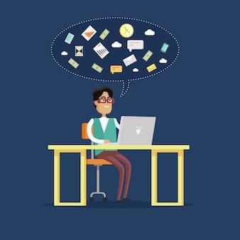 Empresário trabalha em seu laptop