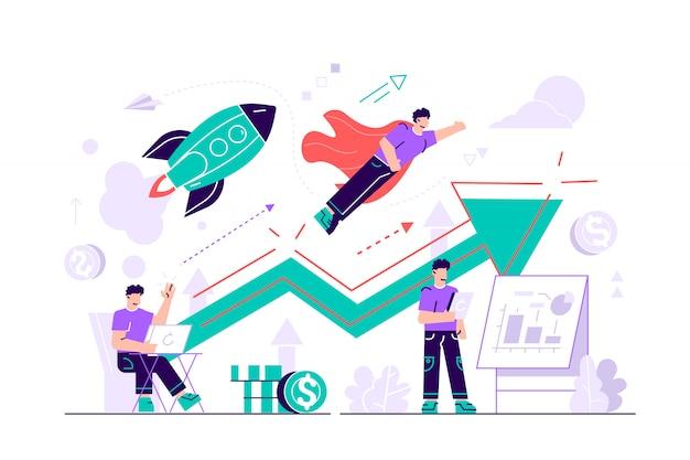 Empresário, trabalhando e voando como super-herói com maleta. inicie o lançamento, inicie o conceito de empreendimento e empreendedorismo em fundo branco. ilustração isolada violeta brilhante brilhante plana