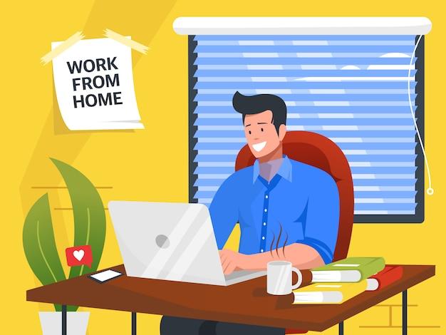 Empresário trabalhando em casa com laptop, livro e xícara de café ilustração
