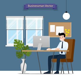 Empresário, trabalhando em um computador pessoal no escritório.