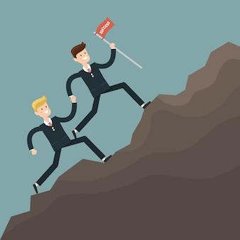 Empresário trabalho em equipe superar obstáculos