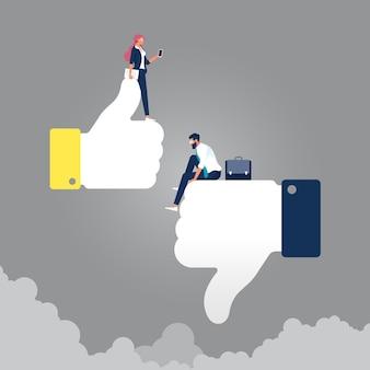 Empresário triste sentado no polegar para baixo e mulher de negócios feliz no símbolo do polegar para cima