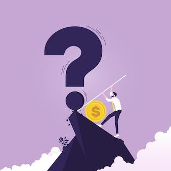 Empresário usa dinheiro para resolver o problema símbolo do conceito de gestão financeira