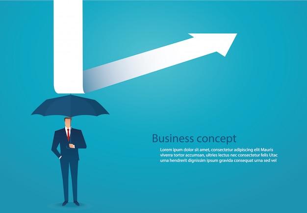 Empresário usar guarda-chuva para proteger a seta para baixo