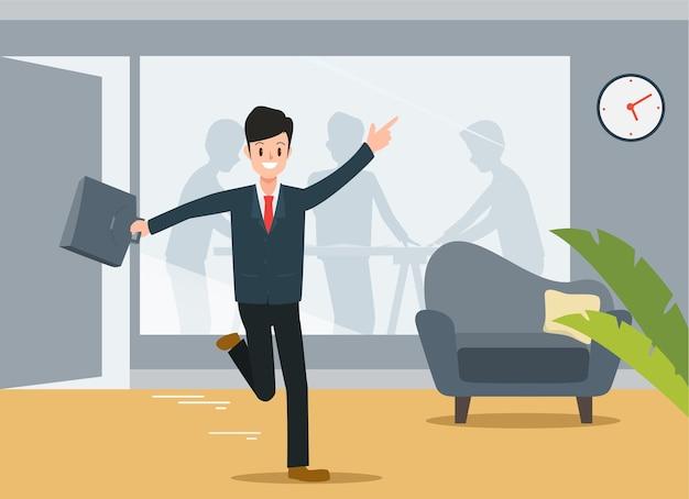 Empresário vai para casa depois do trabalho.