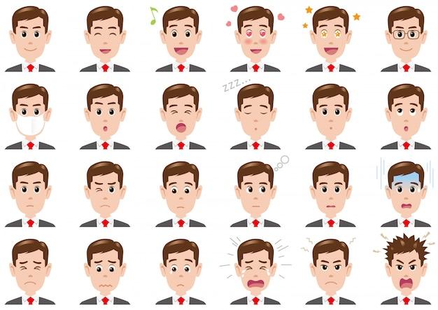 Empresário várias expressões definidas. personagens de vetor isolados